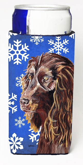 Boykin Spaniel Blue Snowflake Winter Michelob Ultra bottle sleeves For Slim Cans - 12 oz.