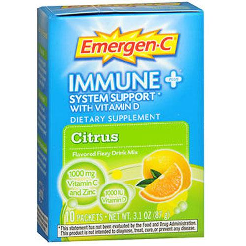 Emergen-C Immune Plus System Support With Vitamin D Citrus,10 Pkt by Alacer