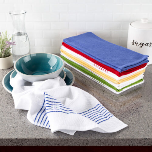 Lavish Home 69-003KT 16 x 28 in. Absorbent 100 Percent Cotton Hand Kitchen Towel With Vintage Striped, Multi-Color - Set of 8
