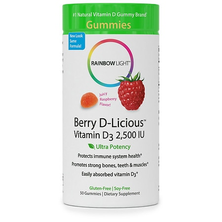 Rainbow Light Berry D-Licious Vitamin D3 2,500 IU Gummies Raspberry - 50.0 ea