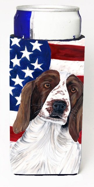 SC9024MUK Usa American Flag With Welsh Springer Spaniel Michelob Ultra bottle sleeves For Slim Cans - 12 oz.