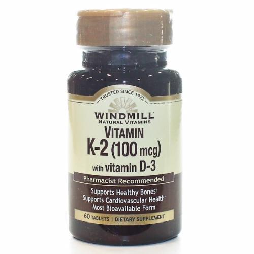 VITAMIN K2 W/VIT D3 60 Tabs by Windmill Health Products