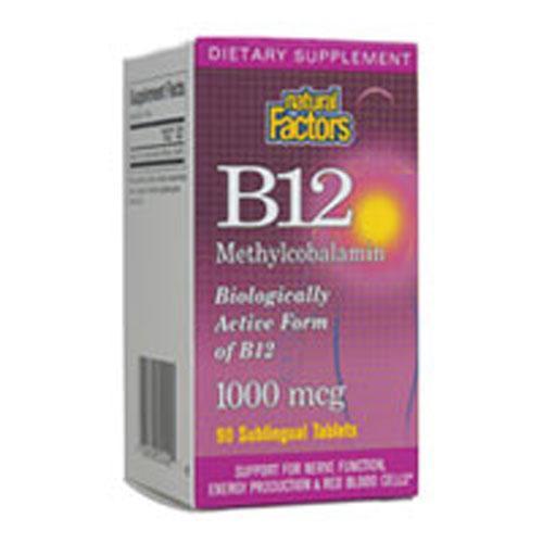 Vitamin B12 Methylcobalamin 90 Tabs by Natural Factors