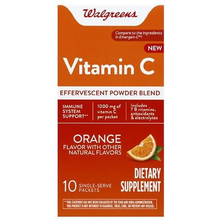 Walgreens Vitamin C Effervescent Powder Orange - 10.0 ea