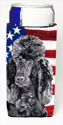 Black Standard Poodle With American Flag USA Michelob Ultra bottle sleeves For Slim Cans - 12 Oz.