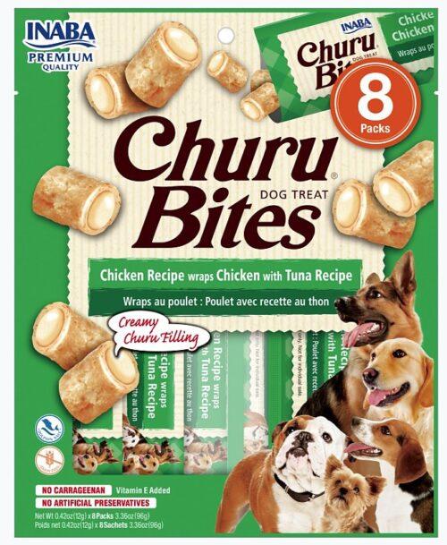 INA71555 Churu Bites Chicken Recipe Wraps Dog Treat with Tuna Recipe - 8 Count