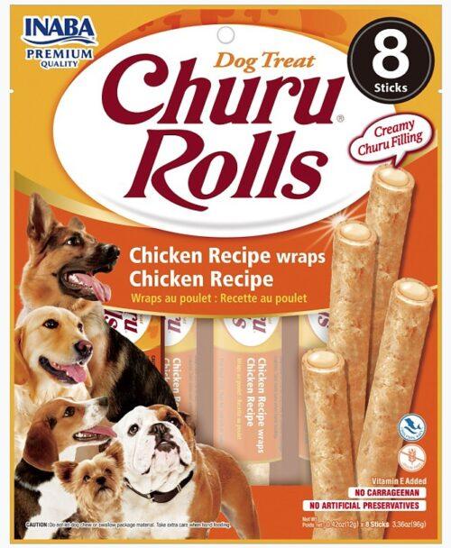 INA71557 Churu Rolls Chicken Recipe Wraps Dog Treat - 8 Count