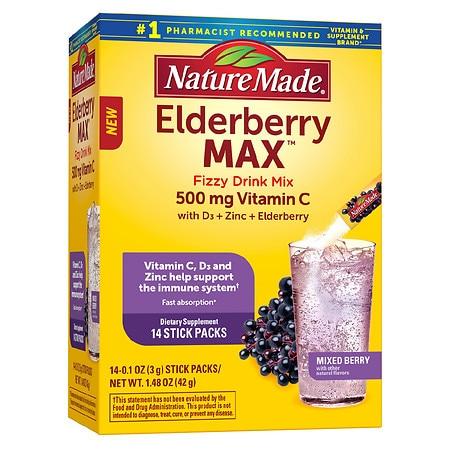 Nature Made ElderberryMAX Fizzy Drink Mix - 0.1 oz x 14 pack
