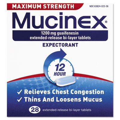 Reckitt Benckiser 02328 Max Strength Expectorant, 28 Tablets per Bottle
