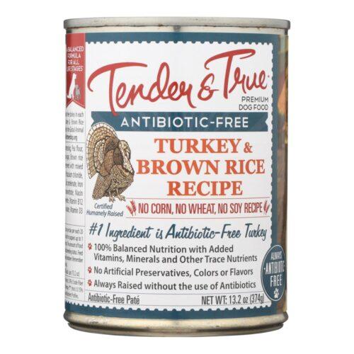 Tender & True HG1613314 13.2 oz Turkey & Brown Rice Dog Food - Case of 12