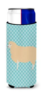 English Leicester Longwool Sheep Blue Check Michelob Ultra Hugger for Slim Cans