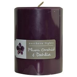 FragranceNet 287246 Plum Orchid & Dahlia One 3 x 4 in. Pillar Candle
